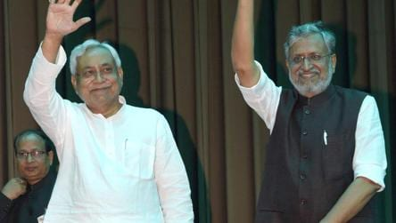 Nitish Kumar with Sushil Kumar Modi at Raj Bhawan in Patna on Thursday.  No one really thinks that Nitish Kumar's exit  from the coalition was driven by principled opposition to corruption.