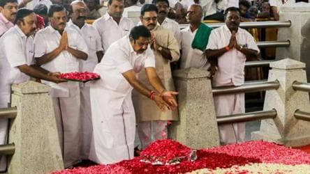 File photo of Tamil Nadu chief minister EK Palaniswami at the Jaya memorial in February after his swearing-in ceremony in Chennai.
