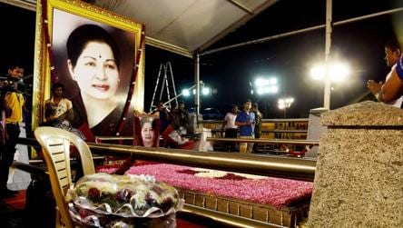 Two wreaths kept ready at the AIADMK supremo J Jayalaithaa's memorial site for when chief minister EK Palaniswami and AIADMK faction leader O Panneerselvam arrive to pay their respects. The arrangements led to speculation that a merger would be announced soon.