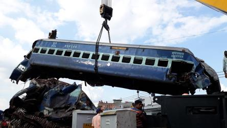 Mangled coaches of the Puri-Haridwar Utkal Express after it derailed in Khatauli near Muzaffarnagar.