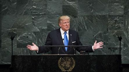 US President Donald Trump addresses the United Nations General Assembly at UN headquarters, in New York City.