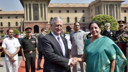 Defence minister Nirmala Sitharaman shakes hands with US Defense Secretary James Mattis at South Block, in New Delhi, on Tuesday.