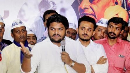 Hardik Patel interacts with Patidar community in Ahmedabad.