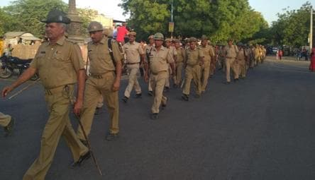 A flag march my Rajasthan police around the Jodhpur central jail  Tuesday evening.