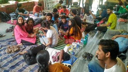 Jadavpur University students on hunger strike demanding admission