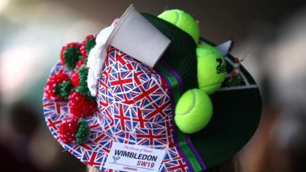 A spectator's ornate hat at All England Lawn Tennis and Croquet Club on Monday. In recent years, the dress code for spectators has become more relaxed but dressing smartly is still an unofficial expectation. Those in the Royal Box in particular are asked not to wear hats, in case it blocks the view of others around them.