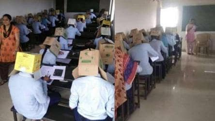 To curb copying, Karnataka students made to write exams wearing cartons
