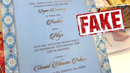 Alia Bhatt, Ranbir Kapoor's wedding invitation is fake