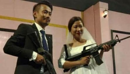 In wedding pics, Nagaland rebel leader's son, bride pose with assault rifles