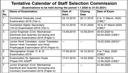 SSC Calendar 2020-21 released, check important exam dates here