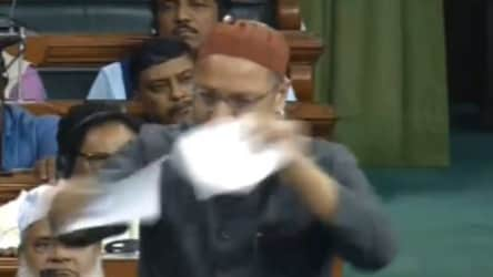Asaduddin Owaisi tears citizenship bill in Lok Sabha amid heated debate