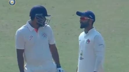 WATCH:Yusuf refuses to walk back after wrong decision, Rahane gets involved