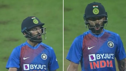 Watch: Kohli's animated reaction after smacking Kesrick Williams for 6