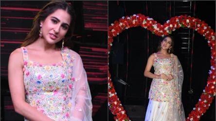 Sara Ali Khan Stuns In White Floral Mirrorwork Lehenga On Indian