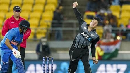 New Zealand's Hamish Bennett bowls during the Twenty/20 cricket international between India and New Zealand.