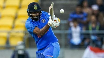 India's KL Rahul bats during a Twenty/20 cricket international between India and New Zealand in Wellington.