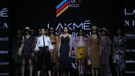 Actor Rakul Preet Singh showcases the creation of Ajio on Day 2 of the Lakme Fashion Week Summer/Resort 2020.
