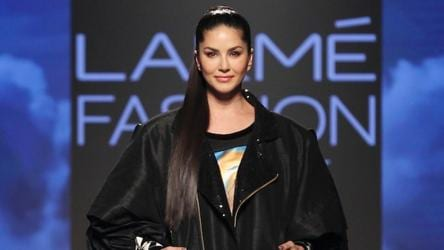 Actor Sunny Leone showcases the creation of Ajio on Day 2 of the Lakme Fashion Week Summer/Resort 2020, in Mumbai.