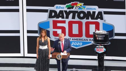 Daytona 500 starts following Donald Trump's parade lap, rain halts it again