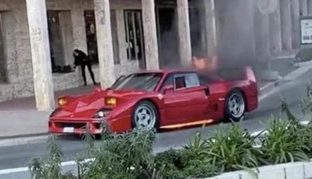 1.4-million dollar Ferrari destroyed after catching fire in Monaco