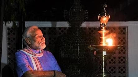 PM Modi joins country, lights lamp to mark fight against coronavirus