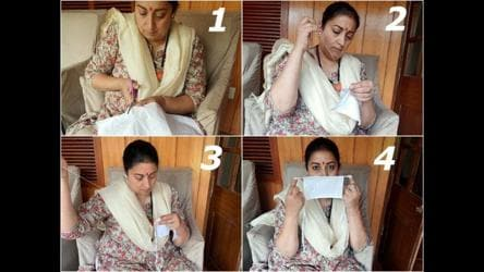 Smriti Irani stitches reusable masks at home. You can make them too