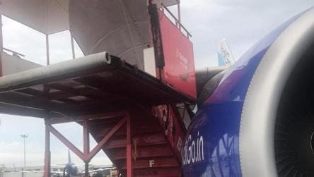 Heavy rain with gusty winds causes SpiceJet ladder to hit the wing of IndiGo aircraft