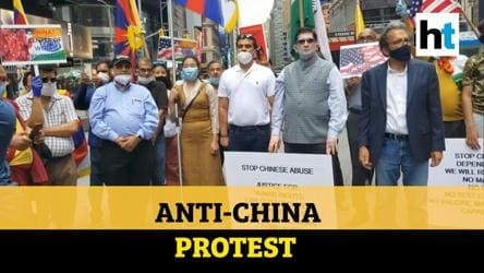 Watch: Indians, Taiwanese, Tibetans hold anti-China protest at Times Square