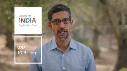 Pichai announces Google for India Digitization Fund worth Rs 75,000 cr