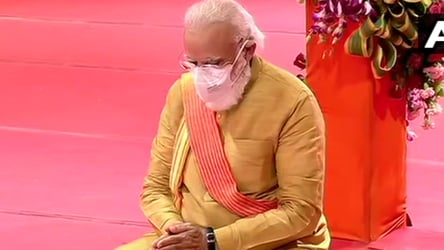 In pics: Clad in golden dhoti-kurta, PM performs Ram temple bhoomi pujan