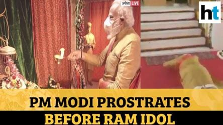 Watch: PM Modi's 'sashtang pranam', worship at Ram's idol | Ayodhya temple