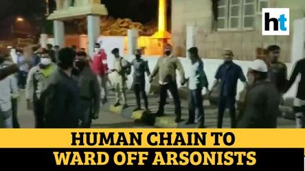 Bengaluru clashes: Watch how group of Muslim youth protected police station