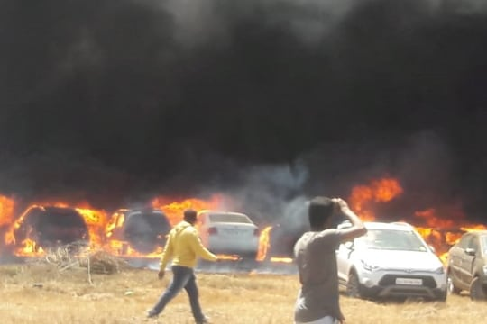 Nearly 100 cars gutted in fire near venue of Aero India show in Bengaluru