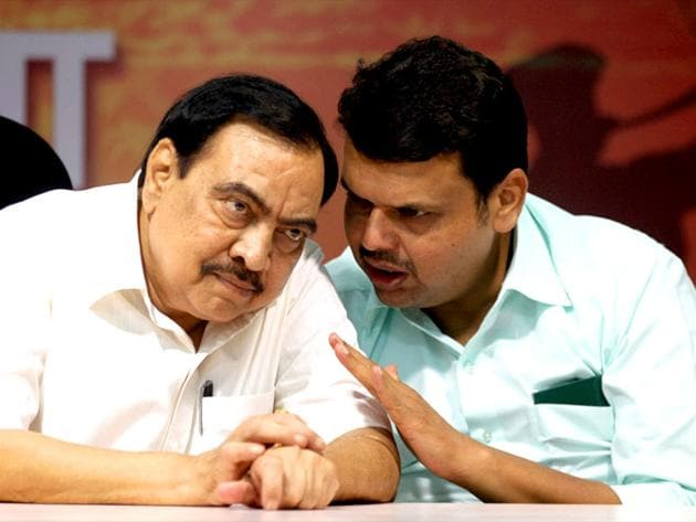 BJP leaders Eknath Khadse and Devendra Fadnavis announced that BJP-Shiv Sena alliance had come to an end.(Kunal Patil/ HT Photo)