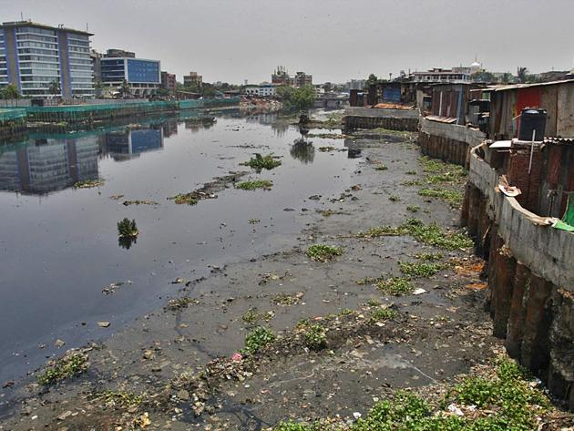 The pollution, according to the water quality index (WQI), was the worst at the mouth of the Mithi river.(HT File)