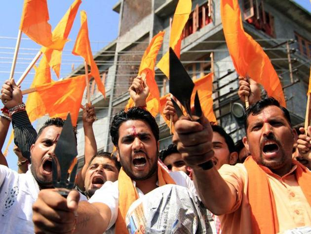 Bajrang dal activists protest against cow slaughter in Jammu.(HT File photo)