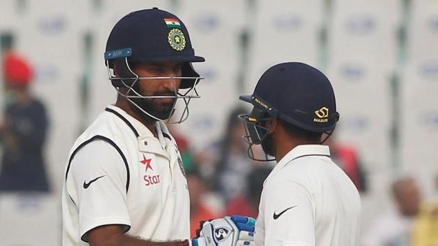 Parthiv Patel and Cheteshwar Pujara shared a 81-run stand as India defeated England by eight wickets in Mohali.(Photo by: Deepak Malik/ BCCI/ SPORTZPICS)
