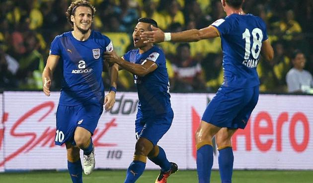 Mumbai City FC captain Diego Forlan celebrates after scoring a goal against Kerala Blasters FC during the Indian Super League (ISL) match on November 19.(PTI)