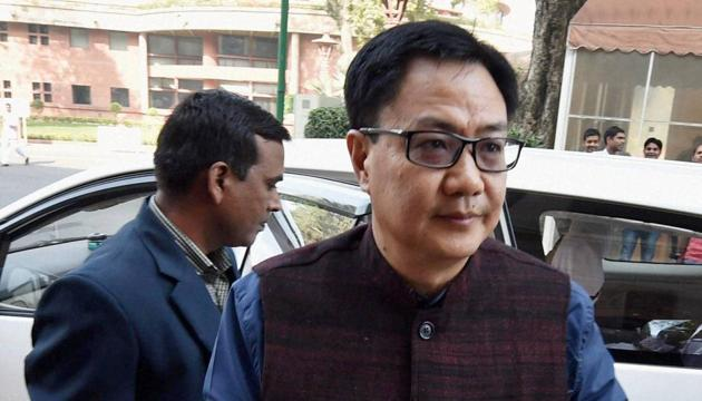 Minister of state for home affairs, Kiren Rijiju at Parliament during the winter session.(PTI File Photo)