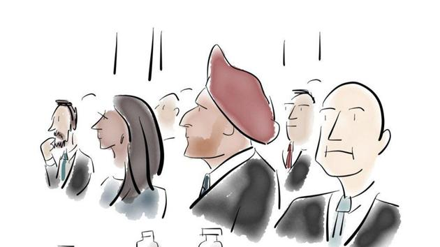One of Liza Donnelly's live sketches depict people listening at the Hindustan Times Leadership Summit 2016.(Liza Donnelly)