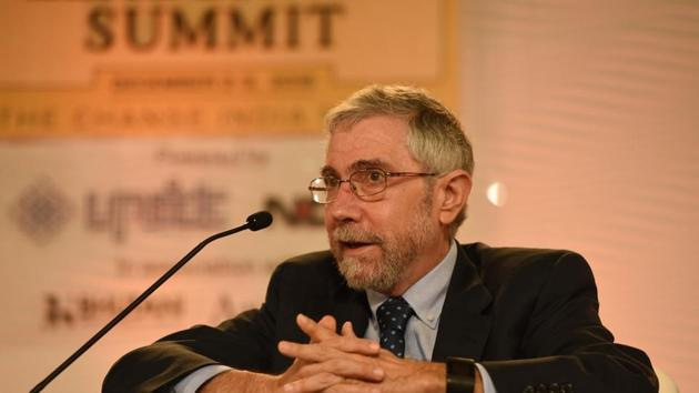 Paul Krugman, professor of economics at the Graduate Center of the City University of New York, during the Hindustan Times Leadership Summit at Taj Palace in New Delhi on Friday.(Virendra Singh Gosain/ HT Photo)