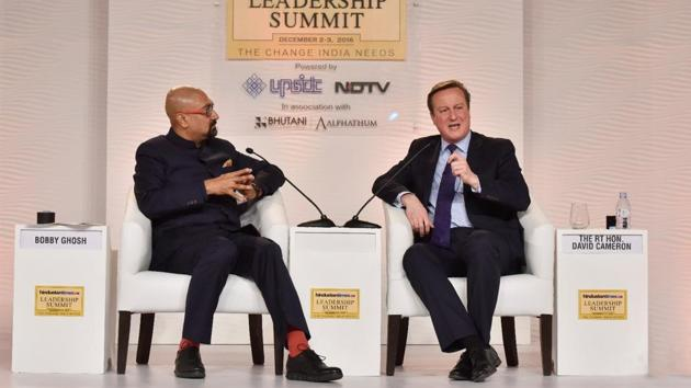 Former British PM David Cameron in conversation with Bobby Gosh, the editor-in-chief of Hindustan Times at the HTLS on Saturday. (Sanjeev Verma/ HT Photo)