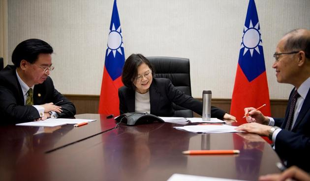 """The call was initiated by Taiwan President Tsai Ing-wen to congratulate Donald Trump. After Friday's telephone conversation, Trump tweeted: """"The President of Taiwan called today to wish me congratulations on winning the Presidency. Thank you!""""(Agencies)"""