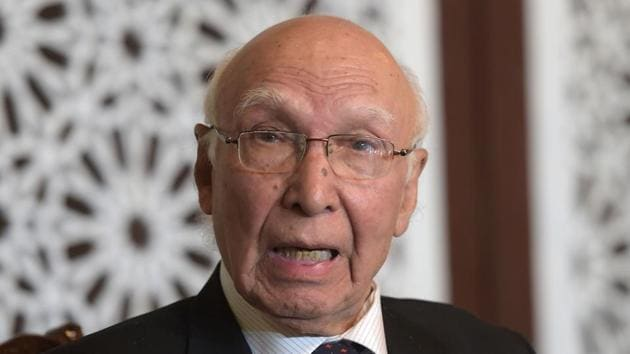 Pakistan's National Security Advisor Sartaj Aziz speaks during a news conference at the Foreign Ministry in Islamabad on December 4 after attending the 6th Heart of Asia (HoA) Ministerial Conference in Amritsar.(AFP Photo)