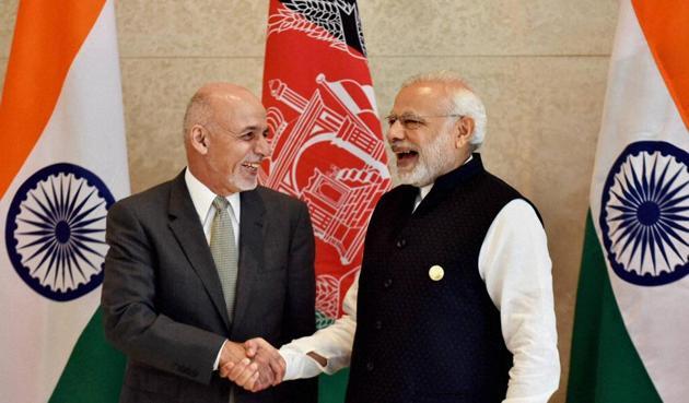 Prime Minister Narendra Modi with President Ashraf Ghani of Afghanistan, Amritsar, December 3(PTI)
