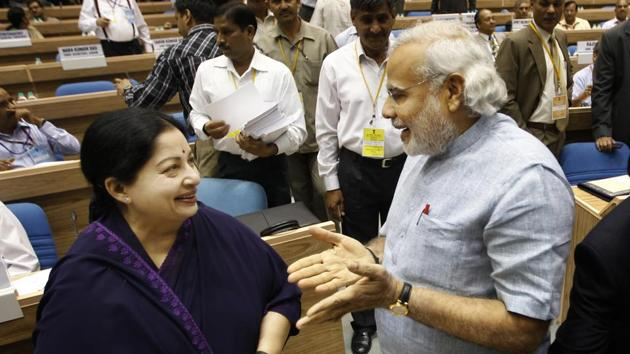 Prime Minister Narendra Modi, who was then the chief minister of Gujarat , talking to Jayaram Jayalalithaa during a meeting in New Delhi on May 5, 2012.(AP File Photo)