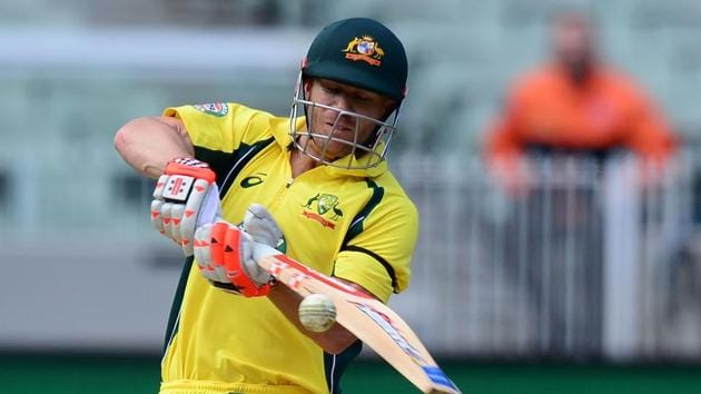 David Warner cut loose after reaching his century against New Zealand in the third Chappell-Hadlee series ODI at the MCG in Melbourne on Friday. He went on to score 156 and help push the Aussie score to 264/8 in 50 overs.(AFP)