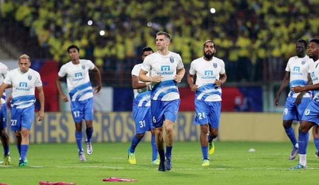 Kerala Blasters will take on the Delhi Dynamos in first leg semi-final at Jawaharlal Nehru Stadium, Kochi, on Sunday.(ISL/SPORTZPICS)