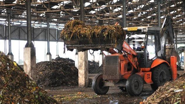Bio-degradable waste at the compost plant, Uttarpara, Hooghly district, Kolkata.(Subhankar Chakraborty/HT PHOTO)