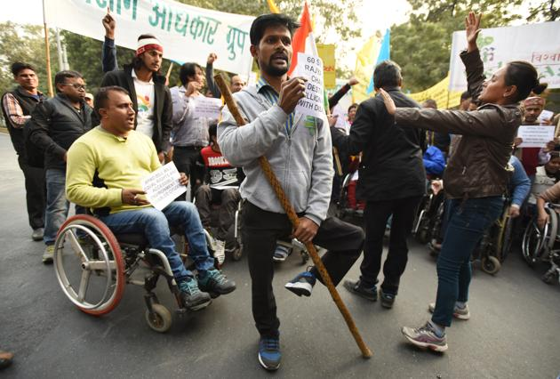 Disabled participants in a solidarity rally in Delhi. A top government official has acknowledged that the number of disabled people in the country as put in the 2011 Census is a gross underestimation.(Virendra Singh Gosain/HT PHOTO)